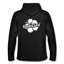 Load image into Gallery viewer, Unisex Lightweight Terry Hoodie - White Flower - charcoal gray