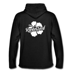 Unisex Lightweight Terry Hoodie - White Flower - charcoal gray