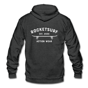 Unisex Fleece Zip Hoodie - Skate Club - charcoal gray