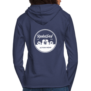 Unisex Lightweight Terry Hoodie - Round Flowers - heather navy