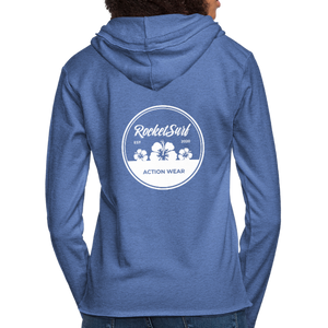 Unisex Lightweight Terry Hoodie - Round Flowers - heather Blue