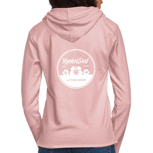 Unisex Lightweight Terry Hoodie - Round Flowers - cream heather pink