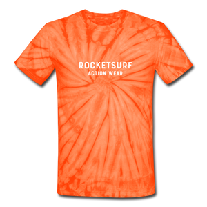 Unisex Tie Dye T-Shirt - RocketSurf Logo - spider orange