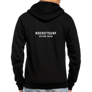 Unisex Fleece Zip Hoodie - RocketSurf Logo - black