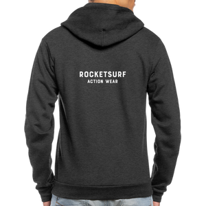 Unisex Fleece Zip Hoodie - RocketSurf Logo - charcoal gray