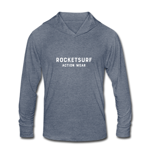 Unisex Tri-Blend Hoodie Shirt - RocketSurf Logo - heather blue