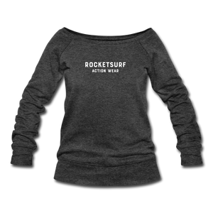 Women's Wide-neck Sweatshirt - RocketSurf Logo - heather black