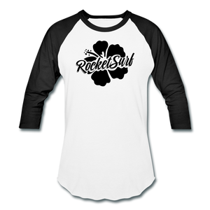 Baseball T-Shirt - Black Flower - white/black