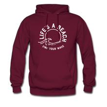 Load image into Gallery viewer, Life's A Beach Find Your Wave - Men's Hoodie - burgundy