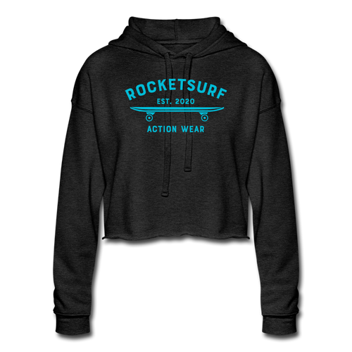 Women's Cropped Shadow Hoodie - RocketSurf Skate Club Light Blue Lettering - deep heather