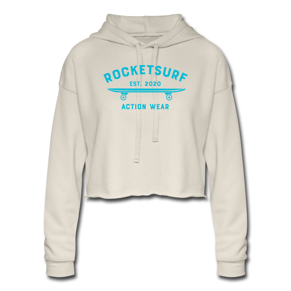 Women's Cropped Cream Hoodie -RocketSurf Skate Club Light Blue Lettering - dust