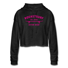 Load image into Gallery viewer, Women's Cropped Shadow Hoodie - RocketSurf Skate Club Magenta Lettering - deep heather