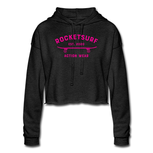 Women's Cropped Shadow Hoodie - RocketSurf Skate Club Magenta Lettering - deep heather