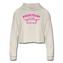 Load image into Gallery viewer, Women's Cropped Shadow Hoodie - RocketSurf Skate Club Magenta Lettering - dust