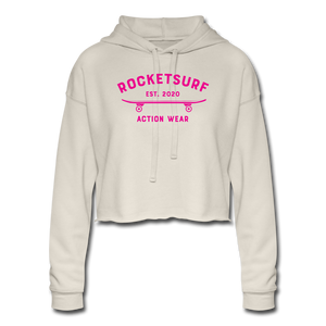 Women's Cropped Shadow Hoodie - RocketSurf Skate Club Magenta Lettering - dust