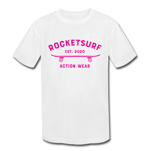 Kids' Moisture Wicking Performance T-Shirt - RocketSurf Skate Club Magenta Lettering - white