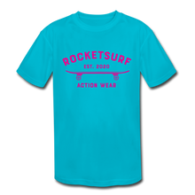 Load image into Gallery viewer, Kids' Moisture Wicking Performance T-Shirt - RocketSurf Skate Club Magenta Lettering - turquoise