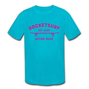 Kids' Moisture Wicking Performance T-Shirt - RocketSurf Skate Club Magenta Lettering - turquoise