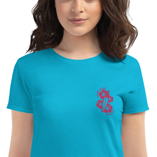Live Free Live Now Women's short sleeve - Fuchsia Embroidery