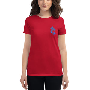 Women's short sleeve Live Free Live Now - Teal Embroidery