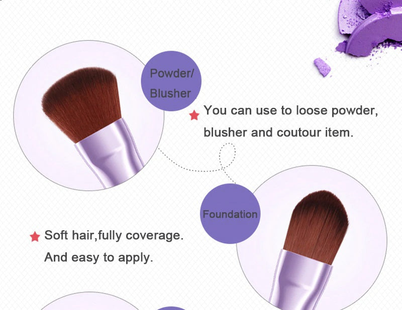 BIOAQUA Pro Pink Purple Makeup Brushes