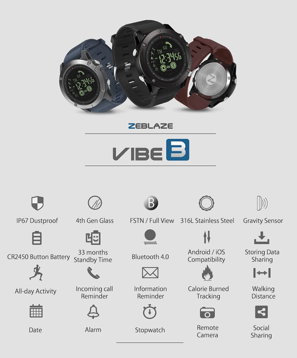 Zeblaze VIBE 3 Flagship Rugged Smartwatch