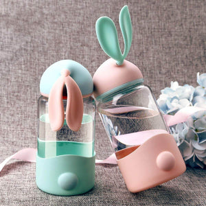 Rabbit Water Bottle Silicone Drinking Glass Water Bottle - haddishop
