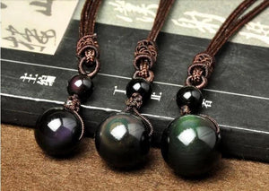 Good Luck Necklace Natural Obsidian Rainbow Eye - haddishop