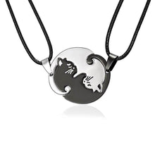 Load image into Gallery viewer, Cat Necklace Black white Couple Necklace - haddishop