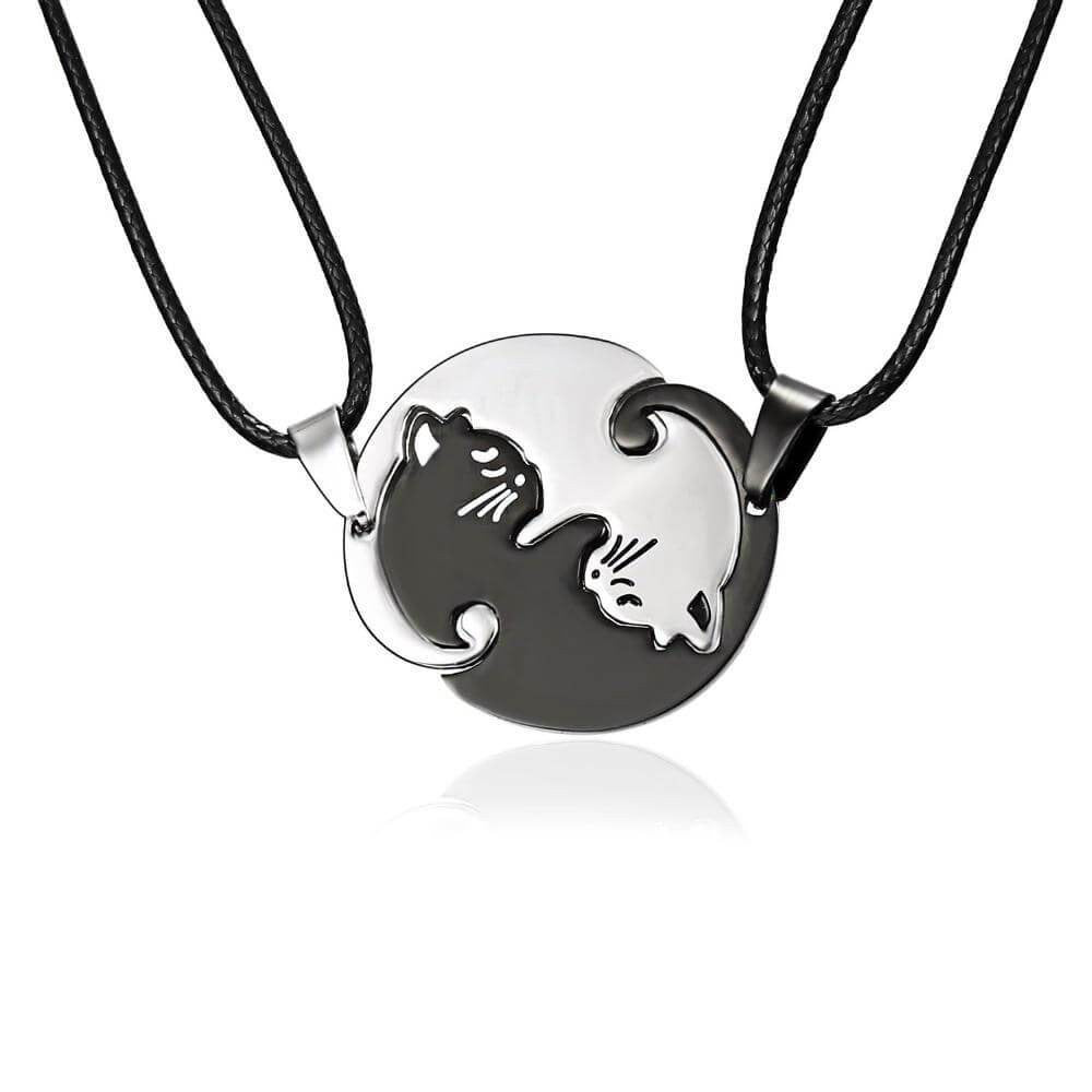 Cat Necklace Black white Couple Necklace - haddishop