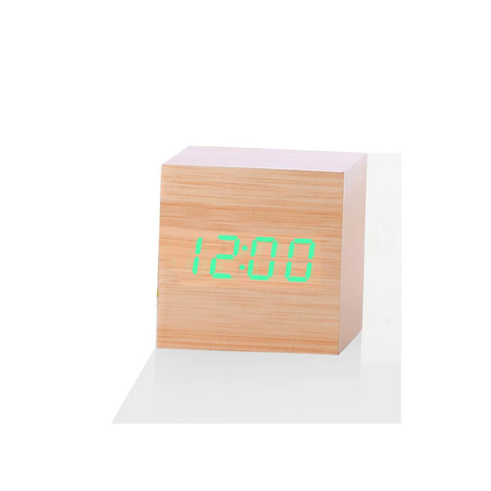 Wooden Wood Clock Digital Led Desk Alarm Clock - haddishop