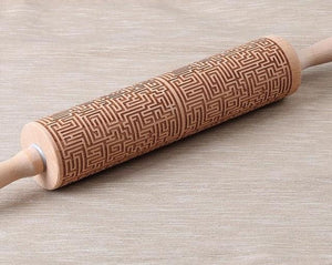Embossed Rolling Pins Engraved Wood - haddishop