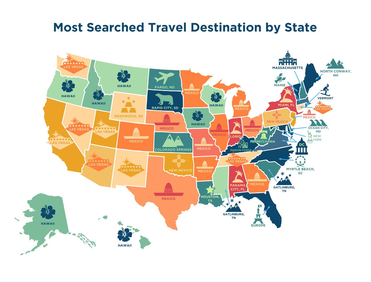 Most Searched Travel Destination per US State 2021