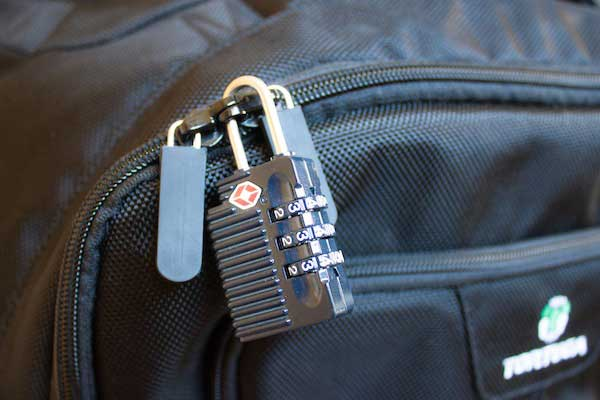 Locking zippers on travel backpack