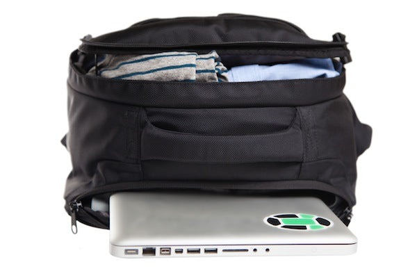 Travel backpack with laptop sleeve