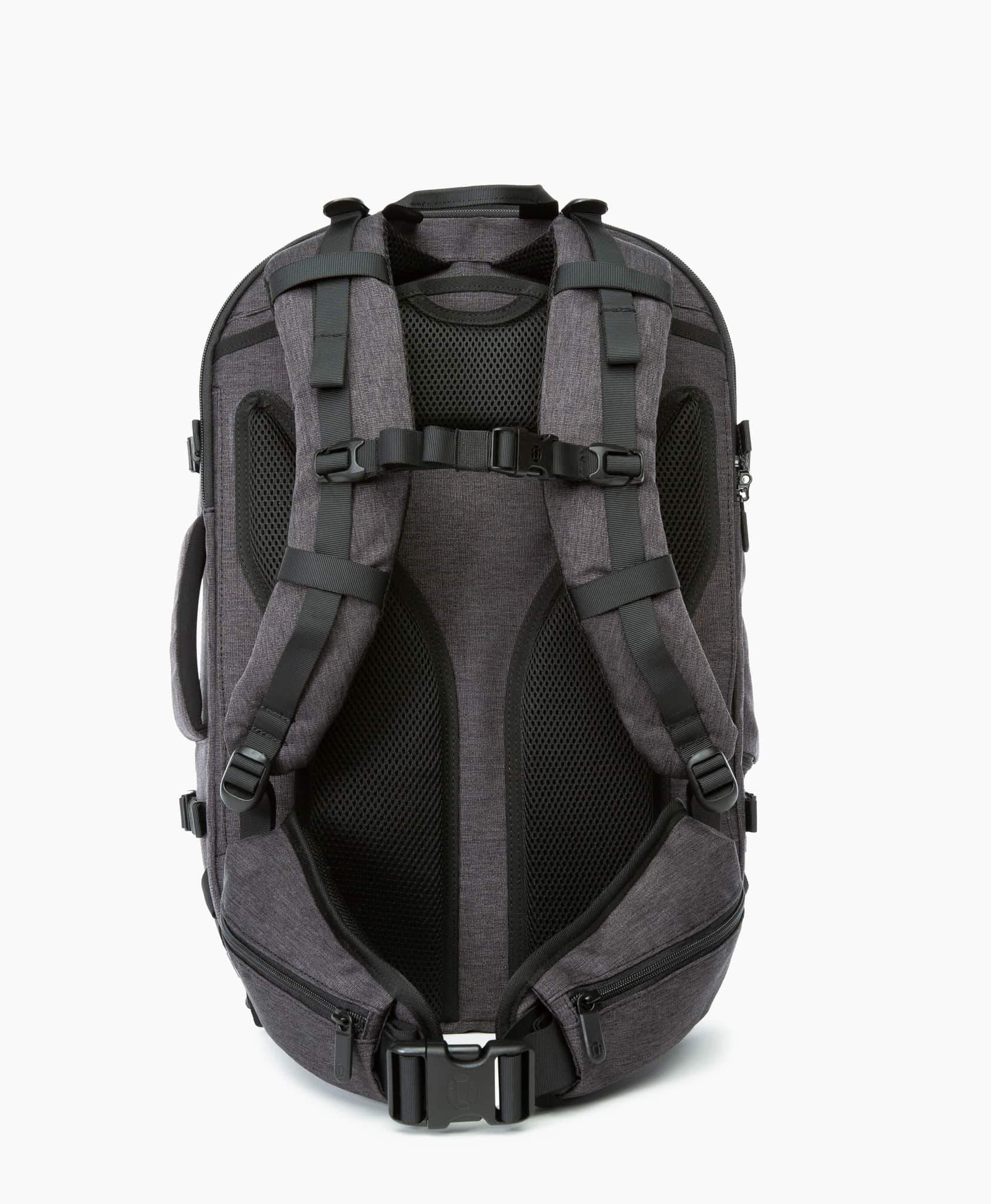 product/ Suspension system with a padded hip belt that transfers 80% of the bag's weight away from your shoulders