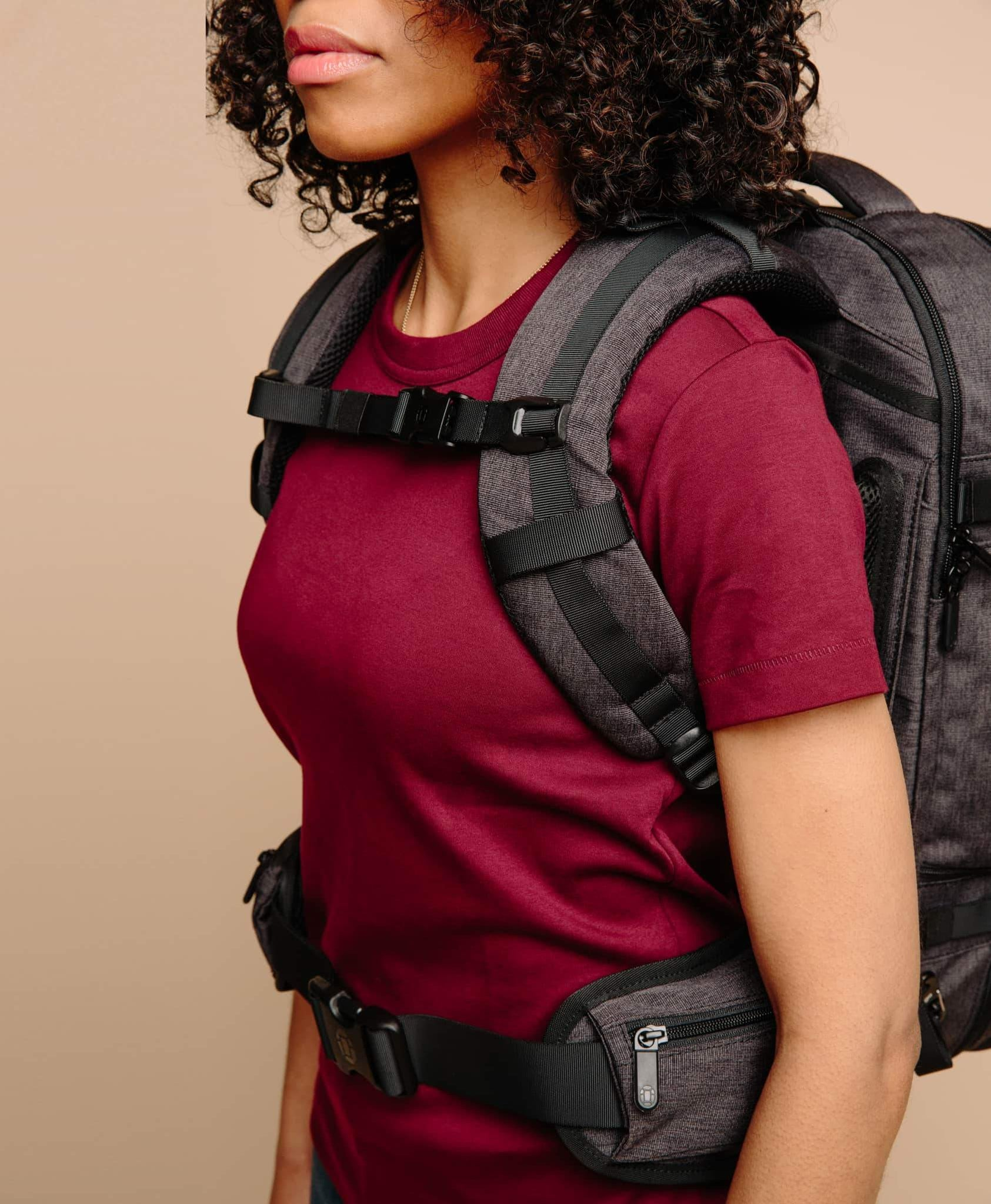 product/ Soft, durable foam shoulder straps are contoured for a woman's frame