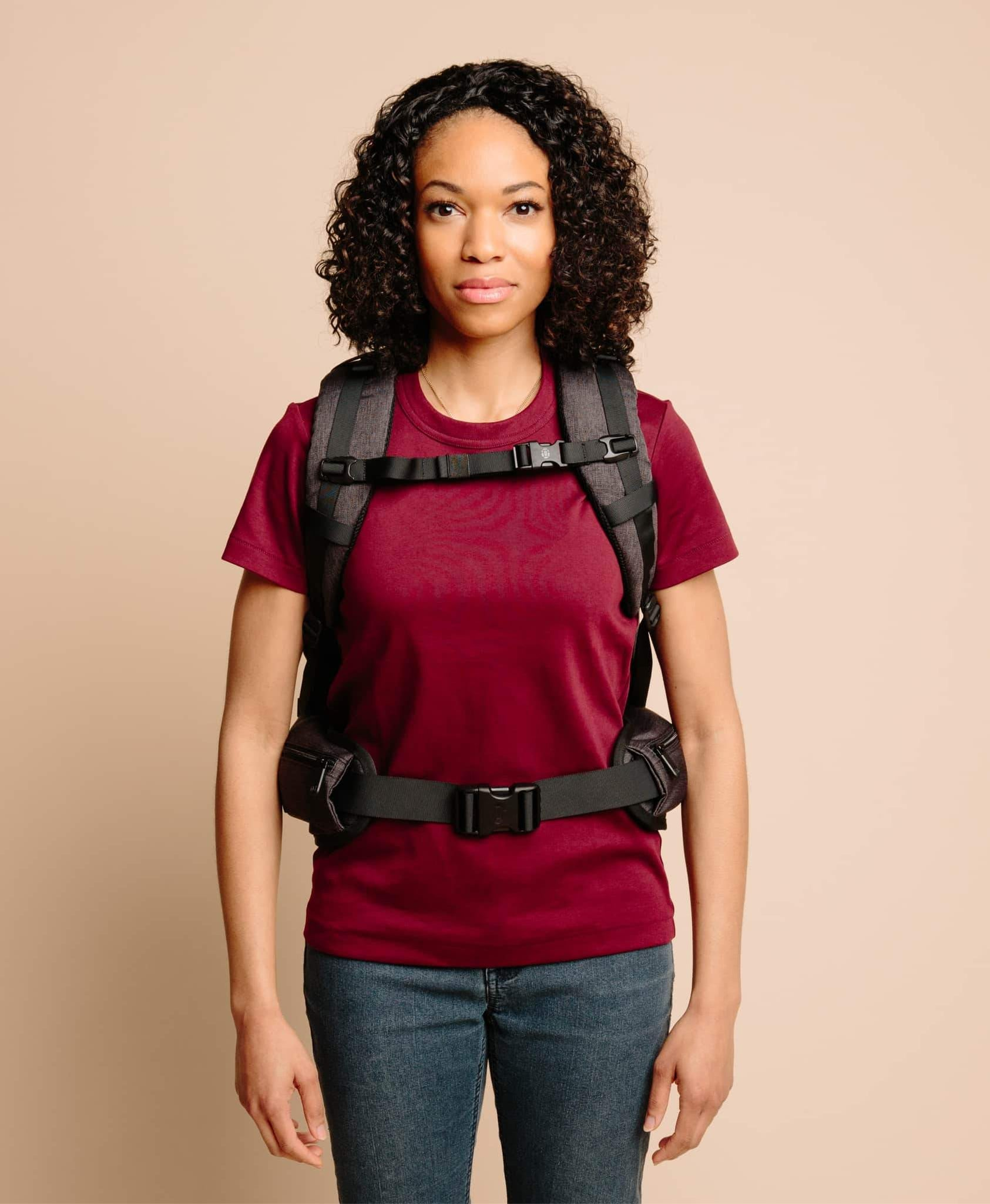 product/ Suspension system fits comfortably on womens' torsos