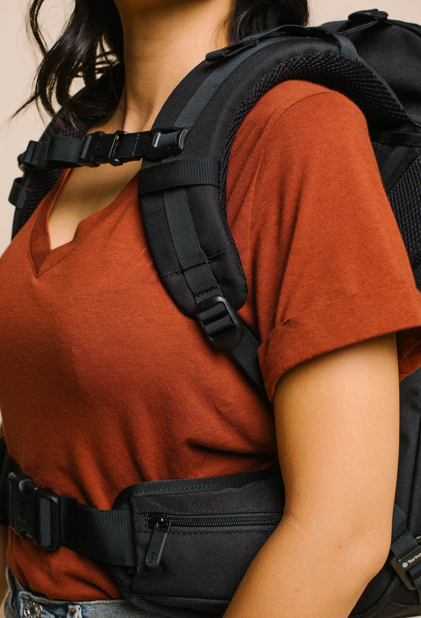 product/ Soft foam shoulder straps are contoured for a woman's frame
