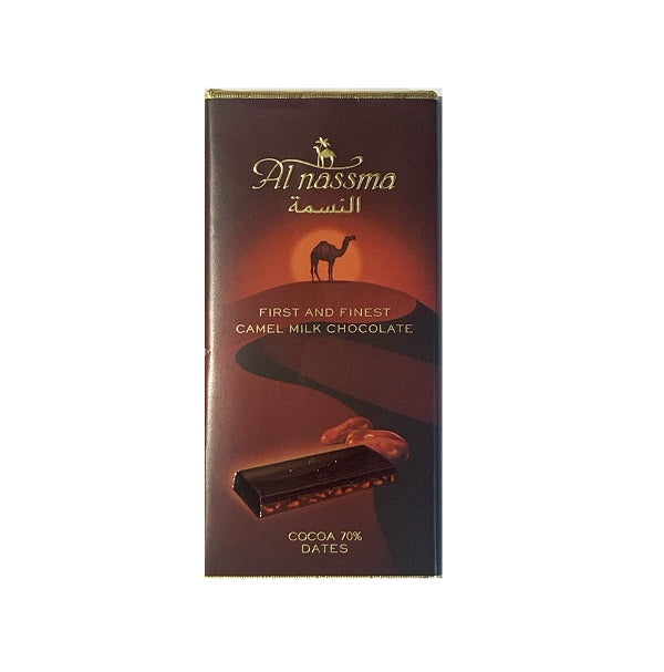Al Nassma Dark Chocolate Bar with Dates 70% Dark Cacao 70g