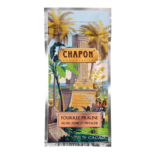 Chapon Tablette Noir Smoked Salted Pistachio Praline 75% Cacao 85g