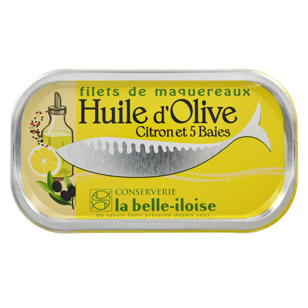 La Belle Iloise Mackerel Fillets in Olive Oil, Lemon and 5 Berries 112.5g