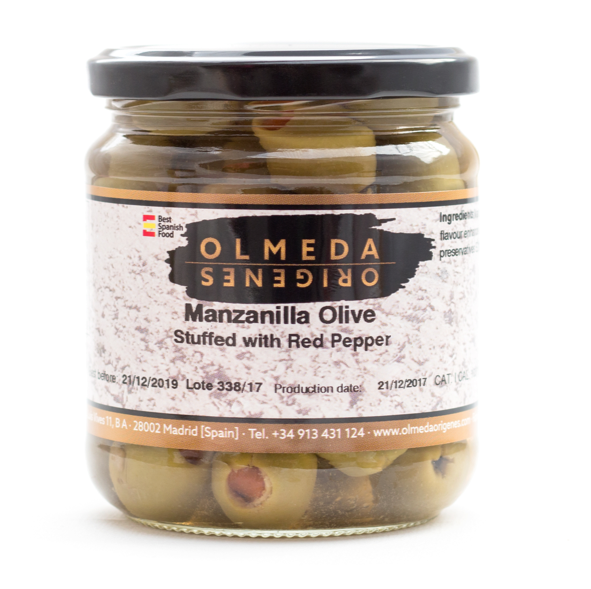 Olmeda Manzanilla Olives with Red Peppers 360g