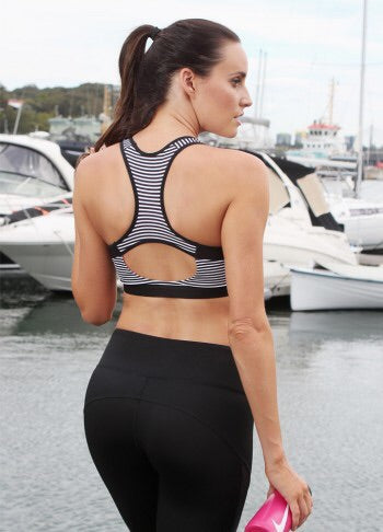 Black and white stripe sports bra