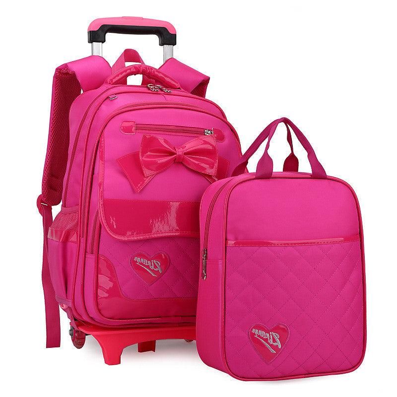 d5a451c4f8 ... 2 Wheels Children School bags Primary student trolley backpack Girls rolling  luggage travel bag on wheels ...