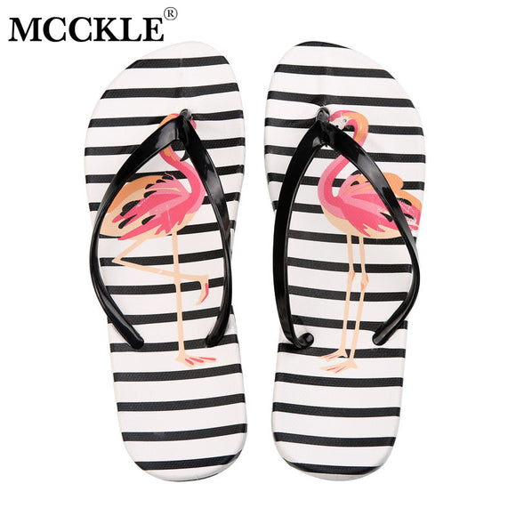 72e2e8416f05 MCCKLE Women Slippers Fashion Flamingo Printing Slides Woman Flat Shoes  Flower Indoor Flip Flops Casual Beach