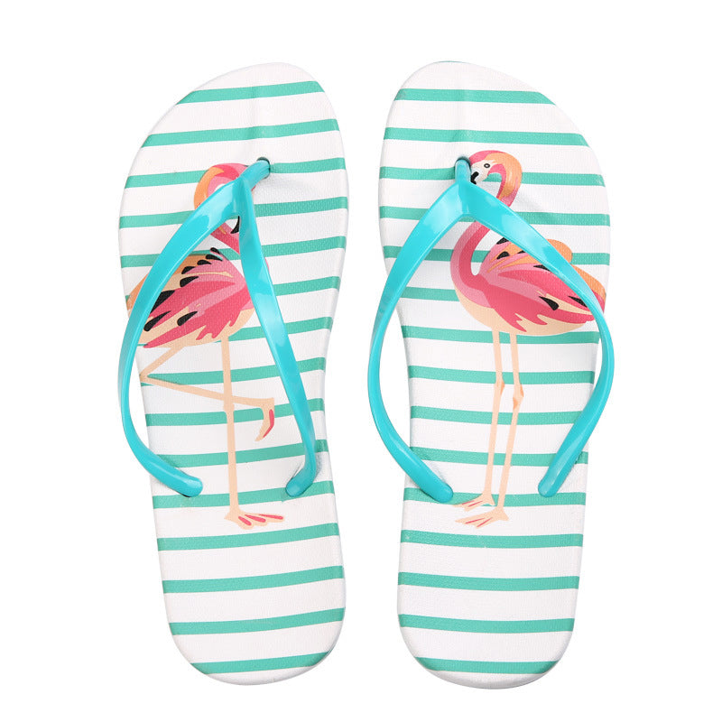 5302ff44a03a ... MCCKLE Women Slippers Fashion Flamingo Printing Slides Woman Flat Shoes  Flower Indoor Flip Flops Casual Beach ...