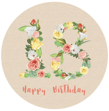 Load image into Gallery viewer, Eighteen 18 Bright Floral Numbers Birthday Lollipop - Suck It & Say