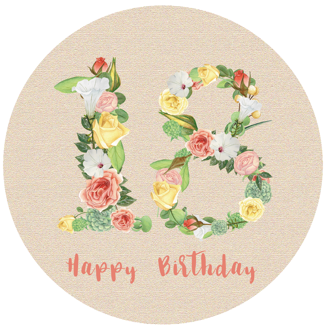 Eighteen 18 Bright Floral Numbers Birthday Lollipop - Suck It & Say