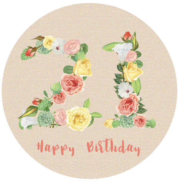 Twenty One 21 Bright Floral Numbers Birthday Lollipop - Suck It & Say